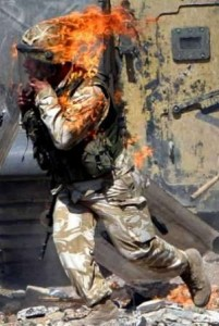 Soldier in flames